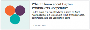 What to do? dayton.com article on the Dayton Printmakers co-operative.