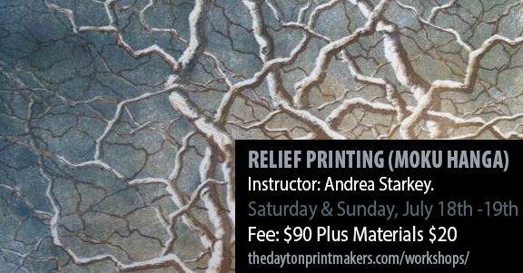 RELIEF PRINTING (MOKU HANGA) Instructor: Andrea Starkey. An introduction to traditional Japanese hand printing techniques, you will learn how to create a simple multi-block print using water-based inks. Saturday & Sunday, July 18th -19th Fee: $90 Plus Materials $20